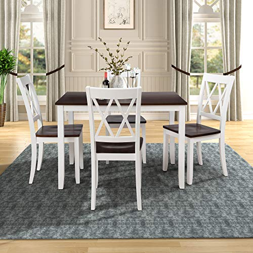 Merax Dining Table Set Kitchen Dining Table Set for 4, Wood Table and Chairs Set (White, 5 Pieces)