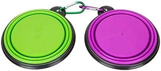 2pcs/set Portable Collapsible Silicone Pet Dog Food Water Travel Bowl