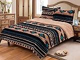 Linen Mart Southwest Aztec Sherpa Borrego Fleece Blanket - 3 Piece Set (Tan) (Queen)