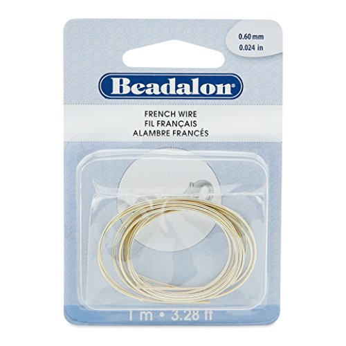 Beadalon French Wire 0.6mm Gold Color 1-Meter
