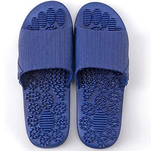 Massage Slippers Foot Reflexology & Acupressure Massagers Sandals for Men & Women Home Shoes Foot Acupoint Massage Pain Relief Non-Slip Massage Shoes for Bath Shower (Blue)