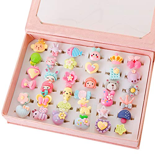 Powerking Girl Rings, Adjustable Jewelry Rings Set and Play Dress Up Rings for Kids and Little Girls, Mermaid/ Butterfly/Flower Rings 36 PCS Lovely Set