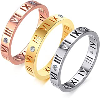 VNOX Stainless Steel CZ Roman Numeral Ring for Women Girls,Rose Gold Plated/Silver
