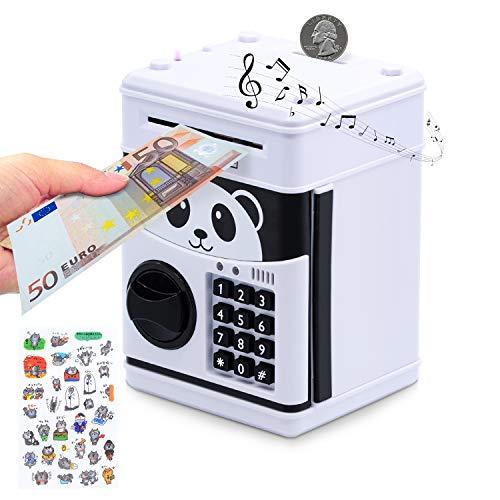 MOMMED Elektronische Spardose für Kinder - Digitale Spardose mit Passwort und Licht - Große elektrische Sparbüchse für Münzen und Scheine - Toller Mini-ATM- Automatische Sparautomat