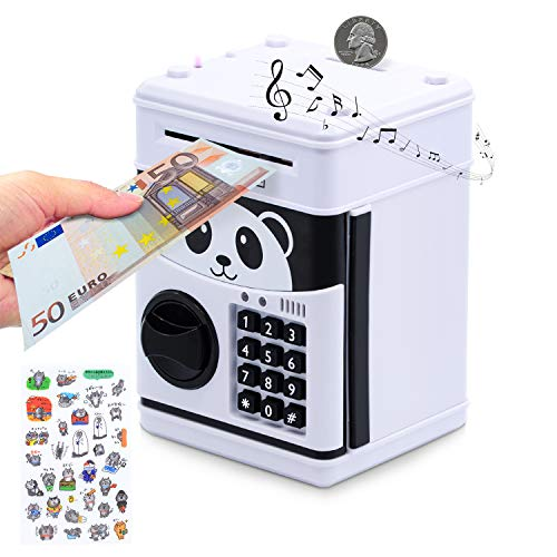 WildHD Electronic Piggy Bank, Money Bank voor kinderen, cartoonwachtwoord, ATM Piggy Bank voor Real Money, Kids Piggy Banks Auto Scroll Piggy Banks Animated Panda Bank schattig en leuk speelgoed elektronische bank