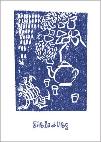 In 5-delige set: Mooie uitnodigingskaart met blauwe theepot