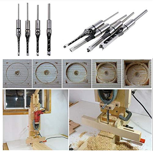 Baifeng 4 Piece Mortice Chisel Set, HSS Mortising Twist Drill Kits, Hole Saw Drill Bit Set,Woodworking Tool Mortising Chisel