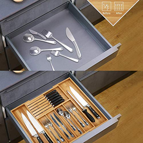 Bamboo Silverware Drawer Organizer Kitchen, Expandable Utensil Holder and Cutlery Tray with Divider | 13'-21.6' Flatware Storage and Removable Knife Block