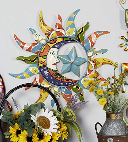 "Deco 79 Modern Celestial-Themed Metal Wall Decor, 25""Diameter, Beautiful Multicolored Finish"
