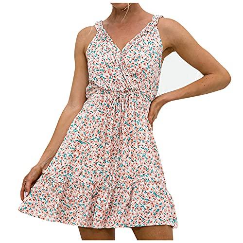 MINYING Robe Col V Femme V-Neck Cap Sleeve Floral Casual Work Stretch Swing Summer Dress Party Dress Été Chic Robe de Plage Casual Imprimé Fleurie sans Manches