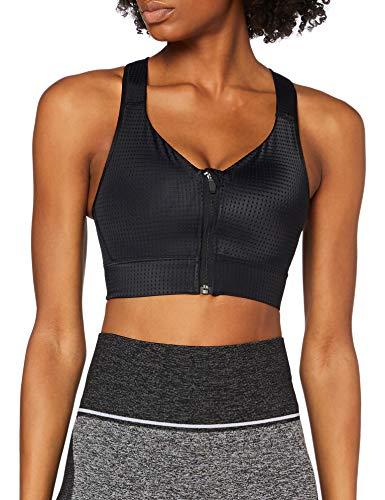 Amazon-Marke AURIQUE Damen Sport-BH für mittleren Halt mit Reißverschluss,Schwarz , L