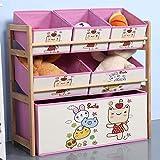 Skysep Scaffale Scaffale Cassetti Porta Giocattoli per Bambini Inclinata Mobiletto Multi-Ripiano con 6 Scatole Tela Bins Rimovibili Modello per Camera dei Bambini Scatola (Color : 2A)