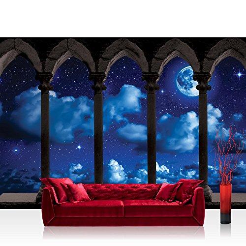 Fototapete 368x254 cm PREMIUM Wand Foto Tapete Wand Bild Papiertapete - Sternenhimmel Tapete Mond Wolken Nachthimmel Balkon Steine Säule blau - no. 2917