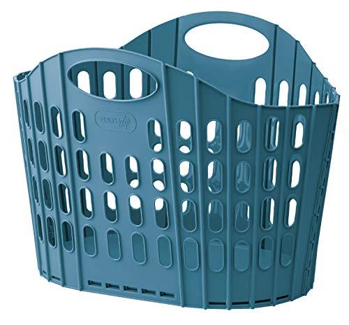 【折りたためるランドリーバスケット ブルー1個】 洗濯かご ランドリーバッグ 収納バスケット 脱衣かご 防水 折りたたみ 取っ手付き