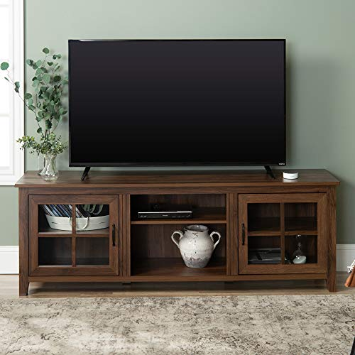 Walker Edison Furniture Company Modern Farmhouse Grooved Wood Stand with Cabinet Doors for TV's up to 80' Living Room Storage Shelves Entertainment Center, Without Fireplace, Dark Walnut