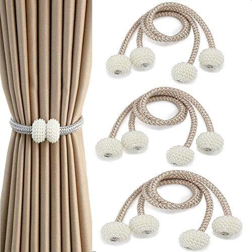 U/K Vorhang Raffhalter Magnetisch, 6 Stück Perle Kugel Fenster-Holdbacks Vorhang Clips Seil mit Magneten für Home Office Fensterdekoration(Beige)