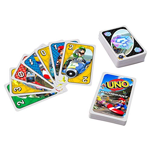 Mattel Games UNO Mario Kart Card Game with 112 Cards & Instructions for Players Ages 7 Years & Older, Gift for Kid, Family and Adult Game Night (GWM70)