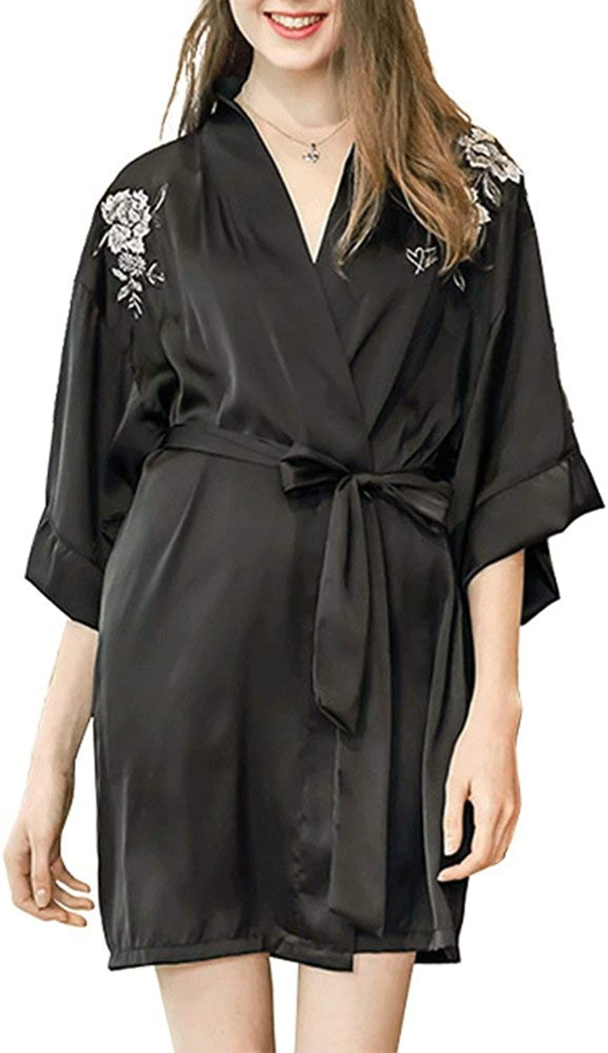 Personalised Dressing Gown Women,Women's Pure color Kimono Robes Satin Nightwear Bridesmaids Short Style with Blossom,BlackL
