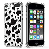 KANGHAR iPod Touch 7 Case, iPod Touch 6 Case,iPod Touch 5 Case, Cow Cute Pattern Shockproof Clear Four Corners Cushion Durable Hard PC + Soft TPU Bumper Anti-Scratch Protection Crystal Cover-4inch