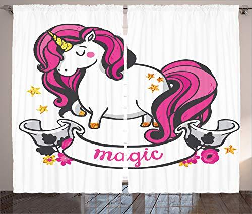 ABAKUHAUS Unicornio Cortinas, Unicornio con el Pelo Rosado, Sala de Estar Dormitorio Cortinas Ventana Set de Dos Paños, 280 x 260 cm, Rosa Blanco