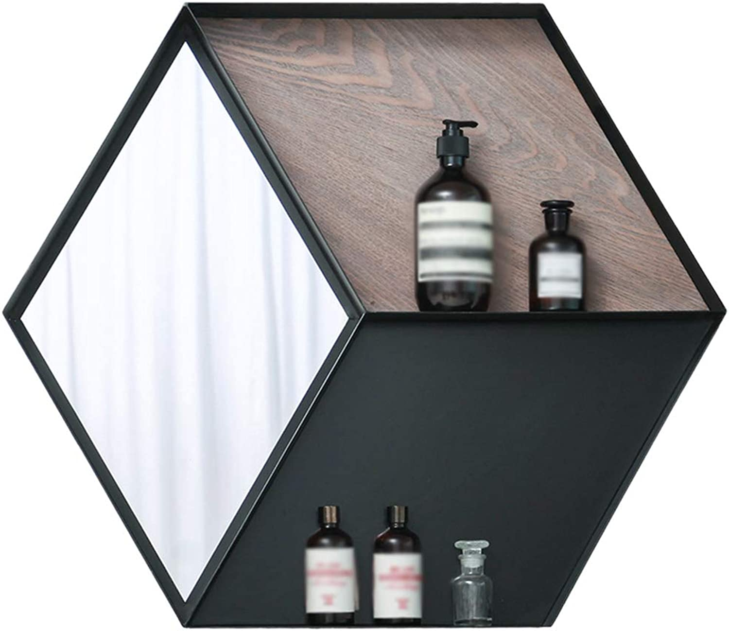 YANZHEN Mirror Wall-Mounted with Shelf Ultra-Clear Storage Multifunction Geometric Hexagon Bathroom Simple and Modern Iron Art, 2 Layer (color   Black, Size   69x8x60cm)