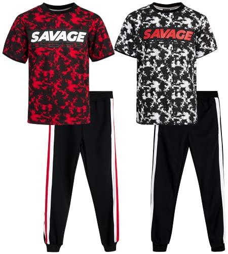 Quad Seven Boys' Activewear Set - Short Sleeve T-Shirt and Jogger Sweatpants (4 Piece), Size 5/6, Tie-Dye Savage