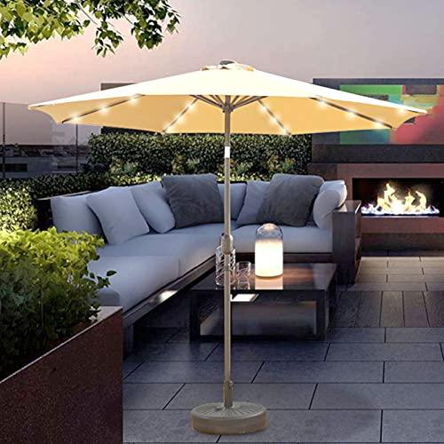 0℃ Outdoor Sombrilla de Jardín con Luz Solar 32 LED Crema Ø270cm Redonda de Alumino Paraguas de Terraza Protección UV Repelente al AGU Soporte Parasol para Jardín Terraza Piscina,Caqui