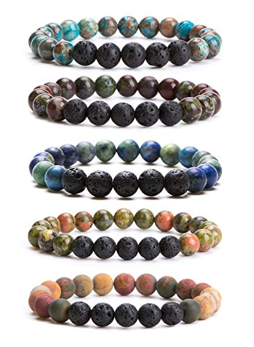 Bivei Lava Rock Stone Essential Oil Diffuser Bracelet - Natural Semi Precious Gemstone Beads Healing Crystal Bracelet (Set of 5 A)