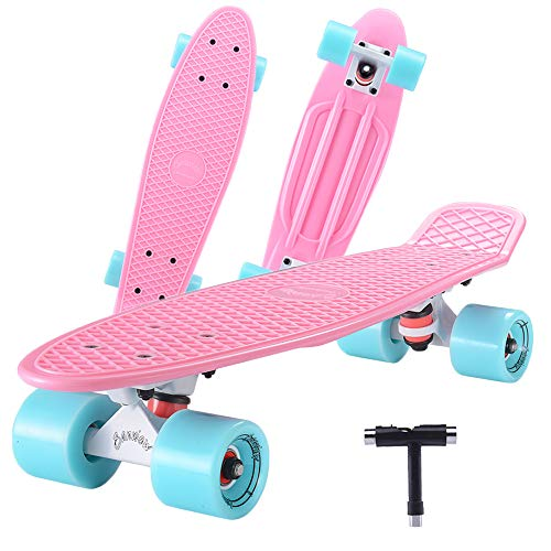 SANVIEW Complete 22 Inch Mini Cruiser Skateboard for Youths Beginners or Kids (Pink)