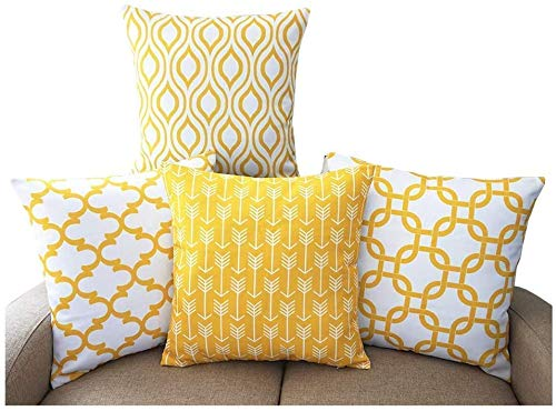 TIDWIACE Mustard Yellow Cushion Cover Linen Sofa Throw Pillow case for Bedroom Car with,Invisible Zipper 45x45cm/18x18 Inch, Set of 4