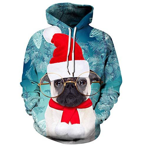 Sudaderas de Navidad con Capucha Hombre Jersey Navideño Mujer Sueter Sweaters Sudadera Estampadas Hoodies Personalizadas Sweaters Jerseys Navideños Renos Oversize Suéteres Feos Juveniles Unisex