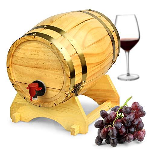 bar@drinkstuff Weinfass aus natürlichem Kiefernholz, 4,5 Liter, Vintage-Stil.