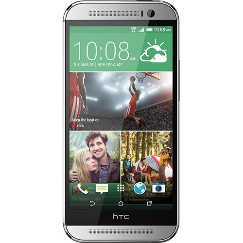 HTC One (M8) smartphone (12,7 cm (5 inch) LCD-display, Quad-Core, 2,3 GHz, 2 GB RAM, 5 megapixel camera, FM-radio, Android 4.4.2), 16 GB/gebrandet, zilver