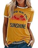 Voqeen Manga Corta para Mujer Cuello Redondo Trae en el Sol Impreso Casual Adolescentes Camiseta para niñas Camiseta de Playa Blusa de Verano Camisetas sin Mangas