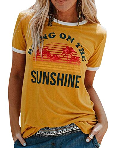 UMIPUBO Bluas de Mujer Camisa Algodón Cuello Redondo Basica Blusa Mujer Elegante Bring On The Sunshine Print...