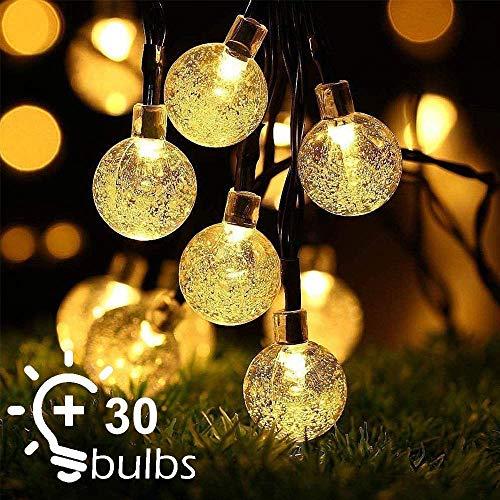 Solar Lichterkette, Lichterkette Kristall Kugel 6.5m 30er LED Warmweiß 8 Modi IP65 für den Außenbereich, dekorative Solarleuchten für Zuhause, Garten, Terrasse, Rasen, Party und Urlaub(Warmweiß)