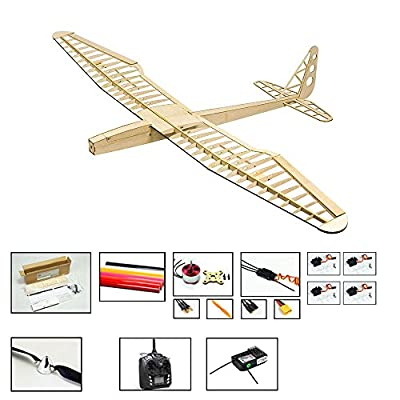 Viloga RC Airplane Model Sunbird Glider, 1.6M Wingspan Laser Cutting Balsa Wood Model Plane Kits to Build, DIY 4CH Electric Remote Radio Controlled RC Glider for Adults