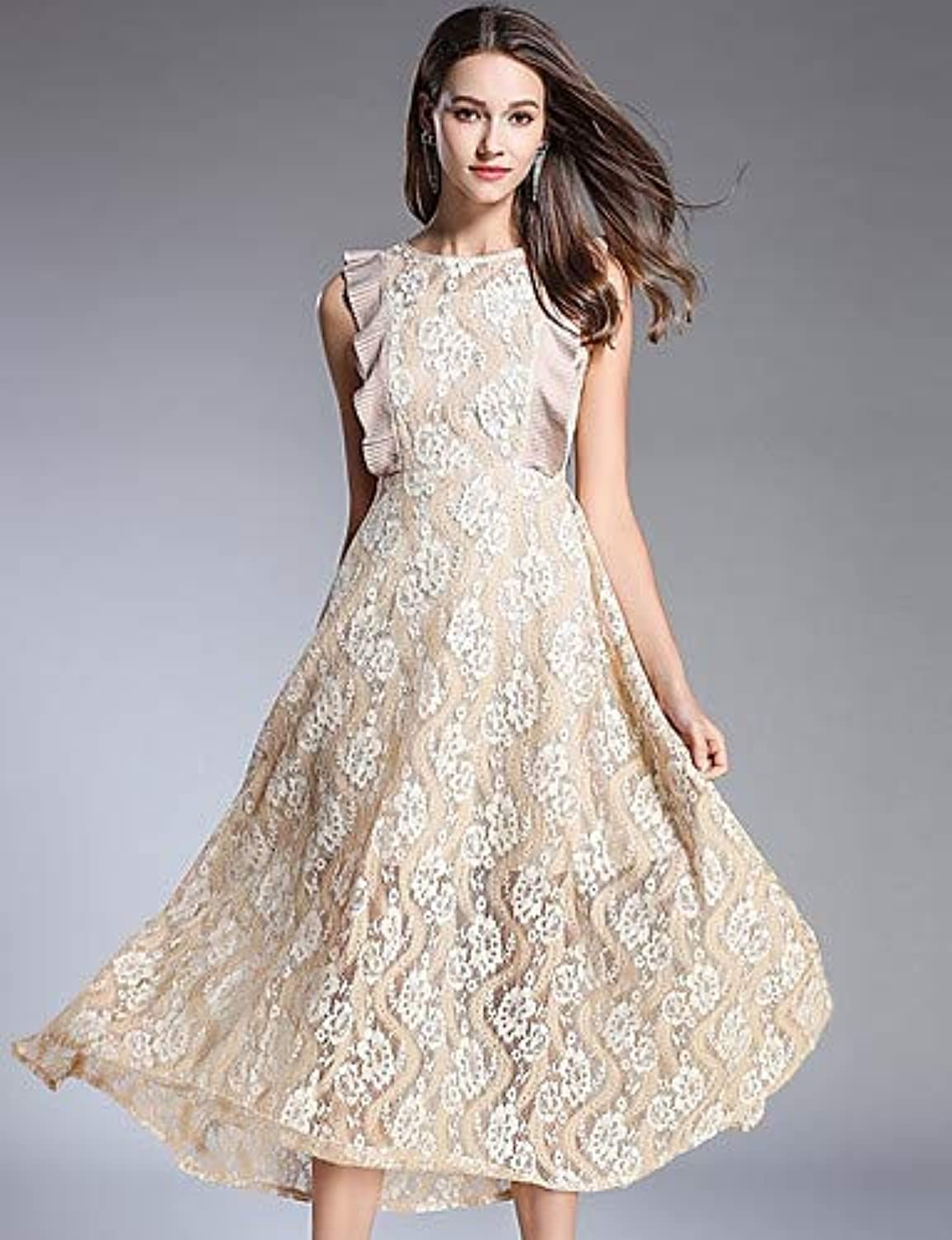 Women's Vintage Basic Swing Dress  Solid colord Floral   Geometric Lace Cut Out Ruffle