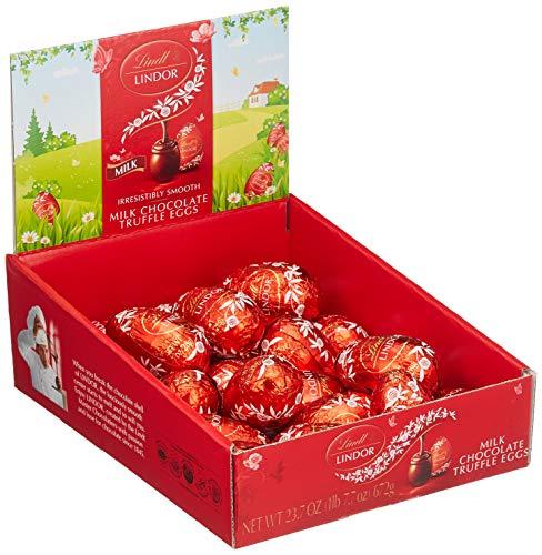 Lindt Lindor Milch Schokoladeneier Thekendisplay, 24 Lindor Eier aus Vollmilch-Chocolade mit unendlich zartschmelzender Füllung, 672 g