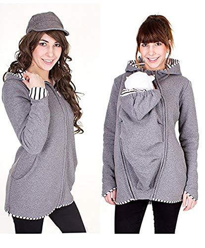 Baby Carrier Hoodies Mäntel, 2 In 1 Frauen Mutterschaft Sweat-Shirts Fleece Känguru-Tasche Mantel Jacke Für Schwangere Tragen Halter Pullover Polar Fleece Pullover,Gray,M