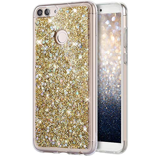 Kompatibel mit Huawei P Smart Hülle,Kristall Bling Glänzend Glitzer Kristall Strass Diamant TPU Silikon Durchsichtig Bumper Hülle Handyhülle Crystal Glitzer Schutzhülle für Huawei P Smart,Gold
