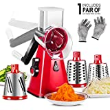 3 in 1 Cheese Grater with 3 Stainless Steel Drums Cheese Grater Rotary for Kitchen Masthome