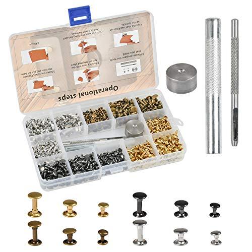 FOCCTS Kit de 320pcs Remaches para Cuero de Doble Tapa con Botones a Presión 3 Herramientas para Artesanía de Decoración, Jeans, Cinturón,etc