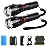 Image: Lyhope 2 Pack High Lumen Flashlights, Zoomable, 5 Modes, 1000 Lumen, Waterproof Handheld Flashlights, Rechargeable Battery and Charger and Bicycle Mount Included