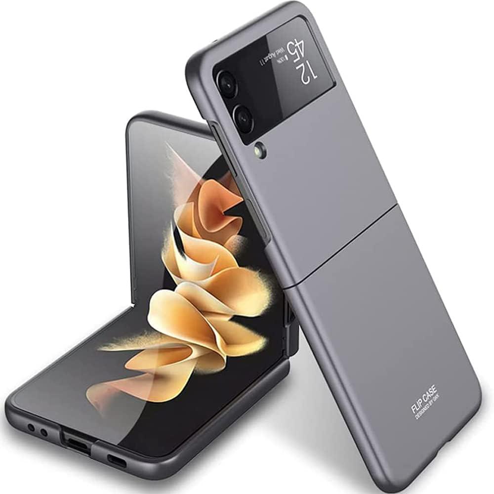 Case for Samsung Galaxy Z Flip 3, Ultra Thin Matte Flip Design Full Body Protection Shock Absorbing Slim Fit Flexible Hard Bumper Cover for Samsung Galaxy Z Flip 3 5G 2021 (Grey)