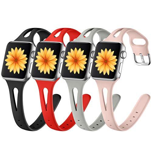 GEAK Compatible con Apple Watch Band de 44 mm para mujer Serie 4 5 6, pulseras delgadas suaves para iWatch SE Correa de repuesto para Apple Watch Series 3 Band Series 2 1, Balck/Gris/Rojo/Rosa Arena