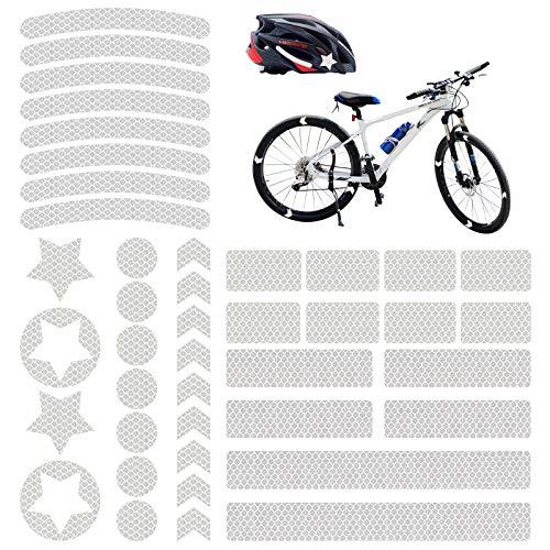 Vegena Reflektoren Fahrrad, 42 Stück Fahrrad Aufkleber Reflektor Sticker, Reflektierende Aufkleber Kleidung, Fahrradaufkleber Reflektorband für Helm Kinderwagen Kinderroller Fahrräder Skateboard Auto