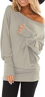 Womens Tops,Kulywon Womens Autumn Long Sleeve Pure Skew Collar Casual T shirt Tops Blouse Bottom