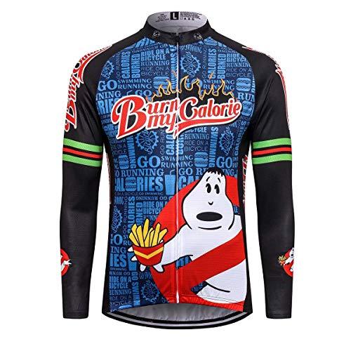 Thriller Rider Sports® Herren Burn My Calorie Sport & Freizeit MTB Fahrradbekleidung Radtrikot Langarm Thermisch Warm Jacke 3X-Large