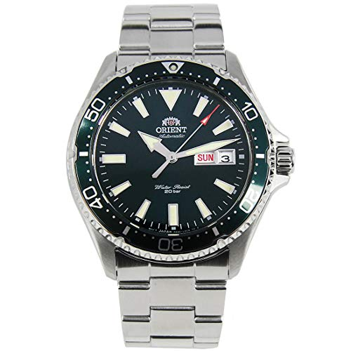 ORIENT Mens Diving Sports Automatic 200m Watch with Green Dial Steel Bracelet RA-AA0004E